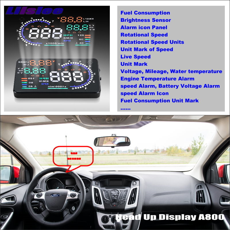 Liislee Araba Bilgi projeksiyon perdesi Ford Için Odak Sedan Hatchback Sürüş Refkecting Cam HUD Head Up Display